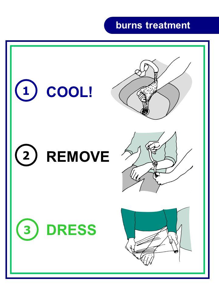 COOL! REMOVE DRESS 1 2 3 burns treatment