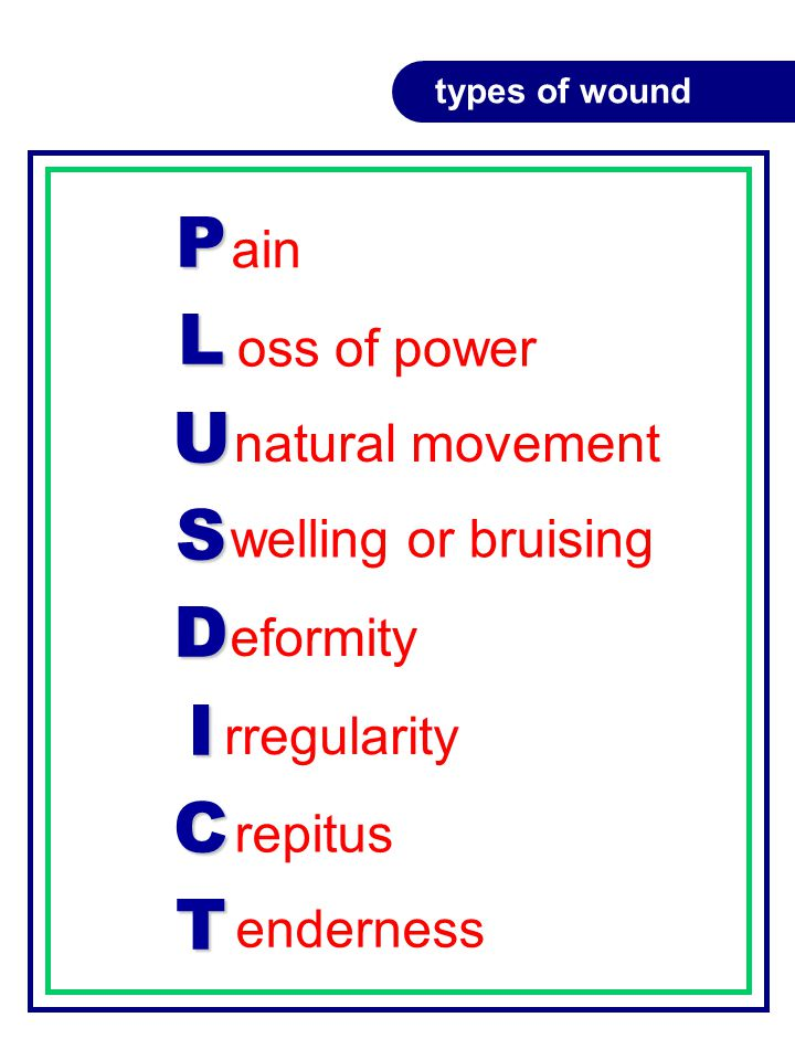 PLUSDICT ain types of wound oss of power natural movement welling or bruising eformity rregularity repitus enderness