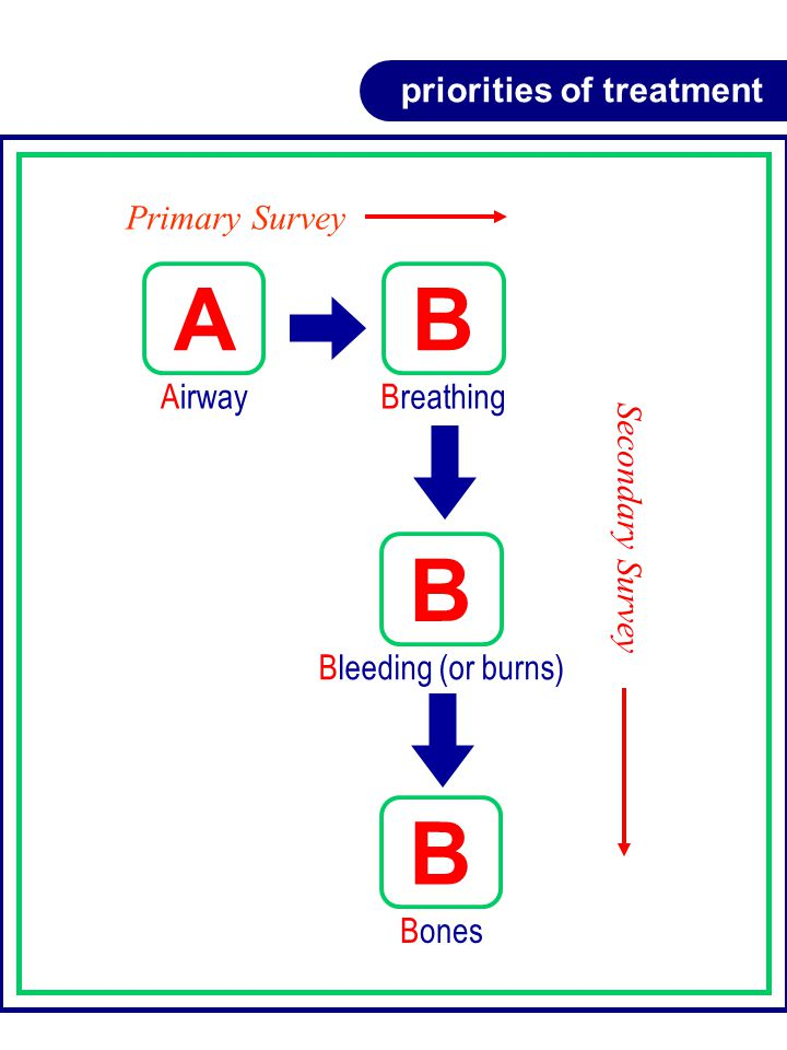 priorities of treatment Primary Survey Secondary Survey B Breathing A Airway B Bleeding (or burns) B Bones