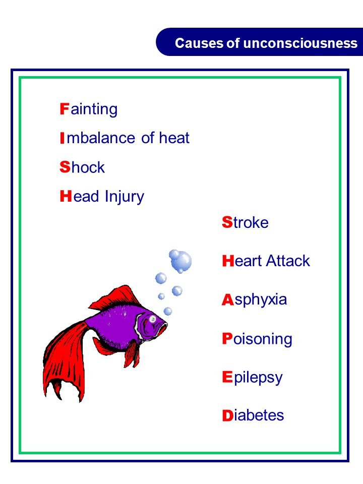 FISHFISH SHAPEDSHAPED Causes of unconsciousness ainting mbalance of heat hock ead Injury troke eart Attack sphyxia oisoning pilepsy iabetes