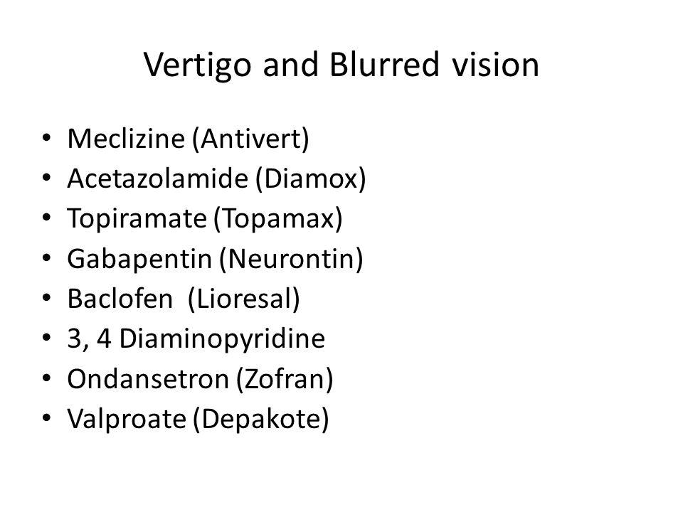 Vertigo and Blurred vision Meclizine (Antivert) Acetazolamide (Diamox) Topiramate (Topamax) Gabapentin (Neurontin) Baclofen (Lioresal) 3, 4 Diaminopyridine Ondansetron (Zofran) Valproate (Depakote)