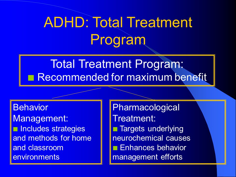 ADHD: Total Treatment Program Total Treatment Program: Recommended for maximum benefit Behavior Management: Includes strategies and methods for home and classroom environments Pharmacological Treatment: Targets underlying neurochemical causes Enhances behavior management efforts