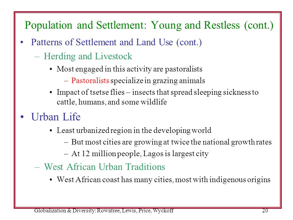 Globalization & Diversity: Rowntree, Lewis, Price, Wyckoff20 Population and Settlement: Young and Restless (cont.) Patterns of Settlement and Land Use