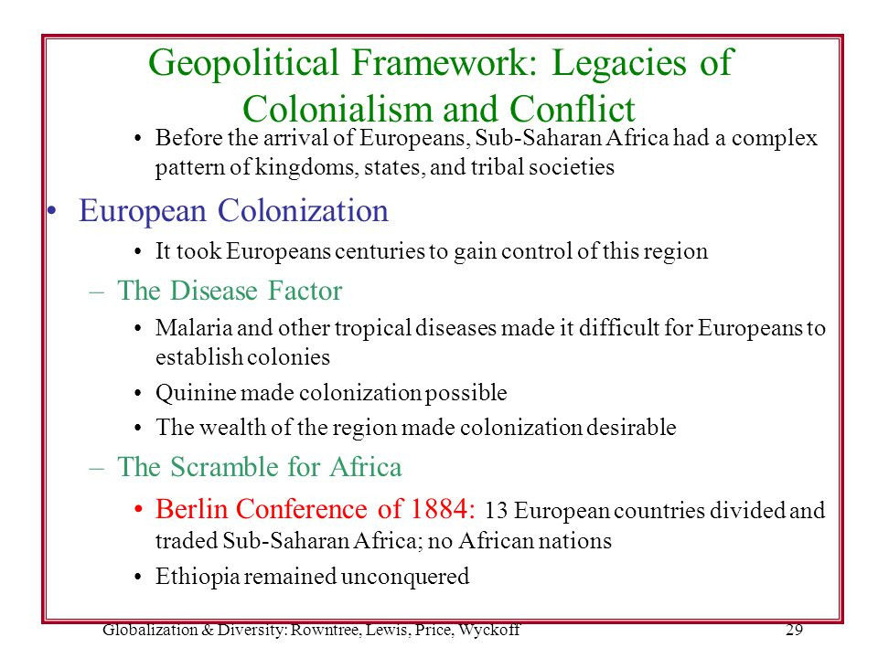 Globalization & Diversity: Rowntree, Lewis, Price, Wyckoff29 Geopolitical Framework: Legacies of Colonialism and Conflict Before the arrival of Europe