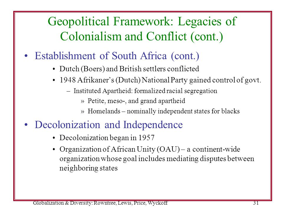 Globalization & Diversity: Rowntree, Lewis, Price, Wyckoff31 Geopolitical Framework: Legacies of Colonialism and Conflict (cont.) Establishment of Sou