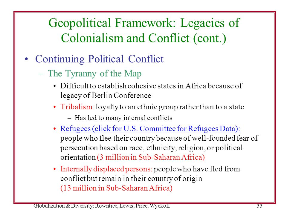 Globalization & Diversity: Rowntree, Lewis, Price, Wyckoff33 Geopolitical Framework: Legacies of Colonialism and Conflict (cont.) Continuing Political