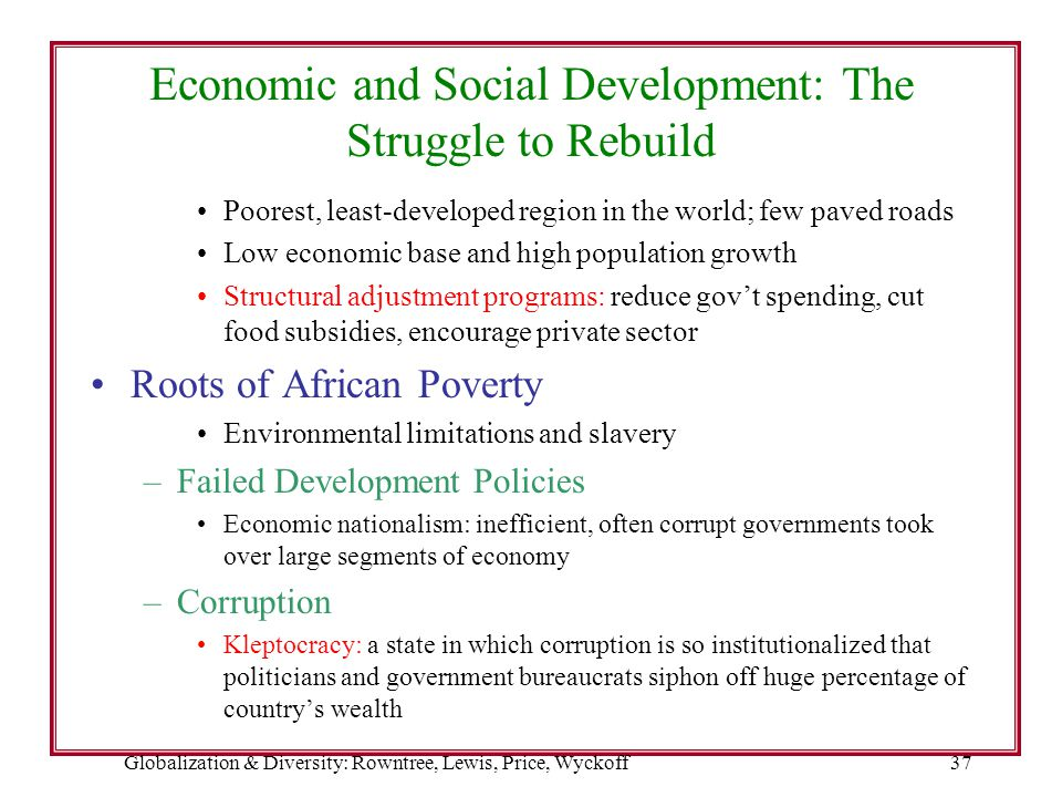 Globalization & Diversity: Rowntree, Lewis, Price, Wyckoff37 Economic and Social Development: The Struggle to Rebuild Poorest, least-developed region