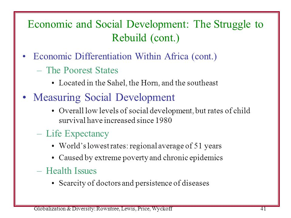 Globalization & Diversity: Rowntree, Lewis, Price, Wyckoff41 Economic and Social Development: The Struggle to Rebuild (cont.) Economic Differentiation