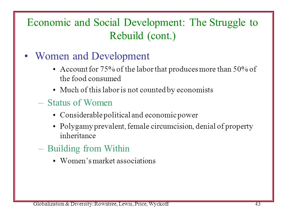 Globalization & Diversity: Rowntree, Lewis, Price, Wyckoff43 Economic and Social Development: The Struggle to Rebuild (cont.) Women and Development Ac
