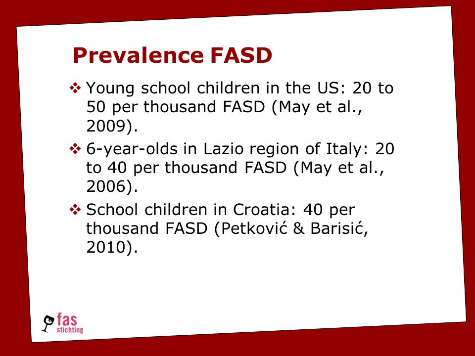  Young school children in the US: 20 to 50 per thousand FASD (May et al., 2009).