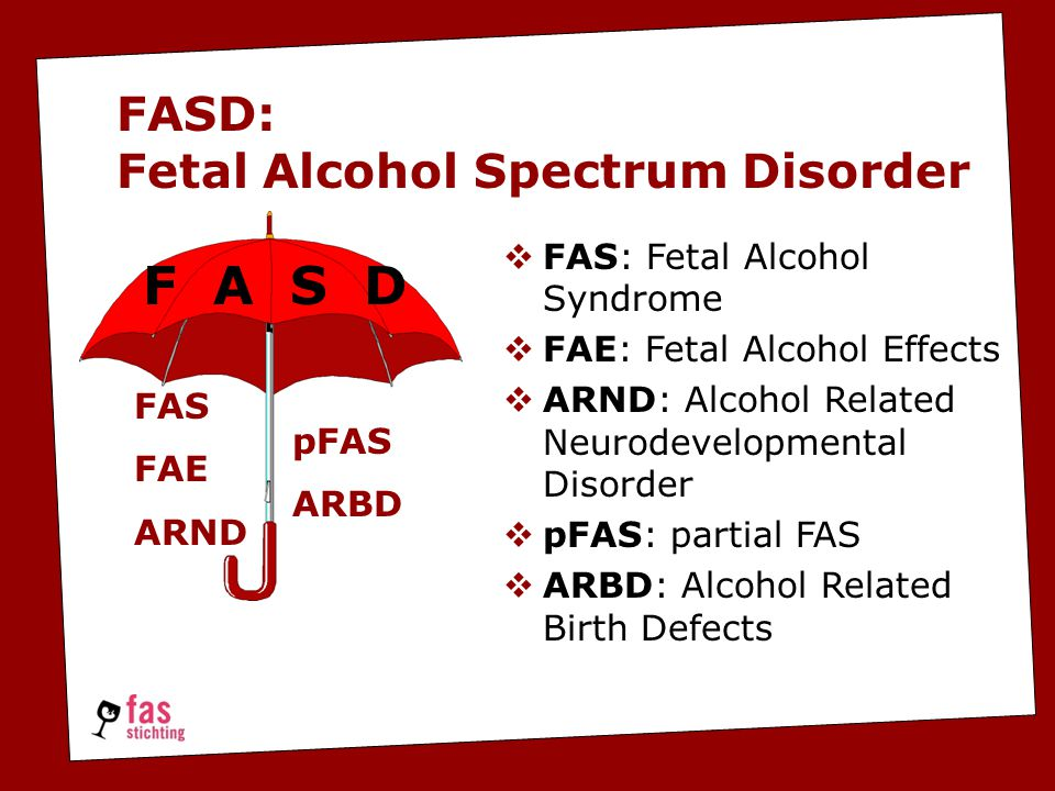 FASD: Fetal Alcohol Spectrum Disorder  FAS: Fetal Alcohol Syndrome  FAE: Fetal Alcohol Effects  ARND: Alcohol Related Neurodevelopmental Disorder  pFAS: partial FAS  ARBD: Alcohol Related Birth Defects FAS FAE ARND pFAS ARBD F A S D