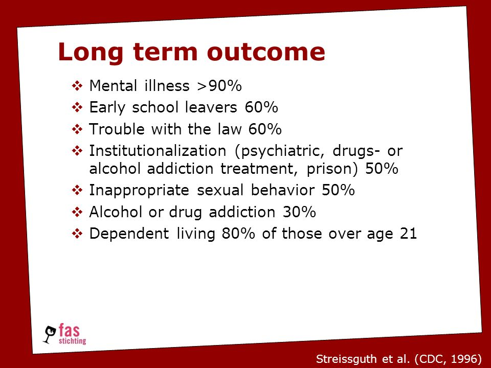 Mental illness >90%  Early school leavers 60%  Trouble with the law 60%  Institutionalization (psychiatric, drugs- or alcohol addiction treatment, prison) 50%  Inappropriate sexual behavior 50%  Alcohol or drug addiction 30%  Dependent living 80% of those over age 21 Streissguth et al.