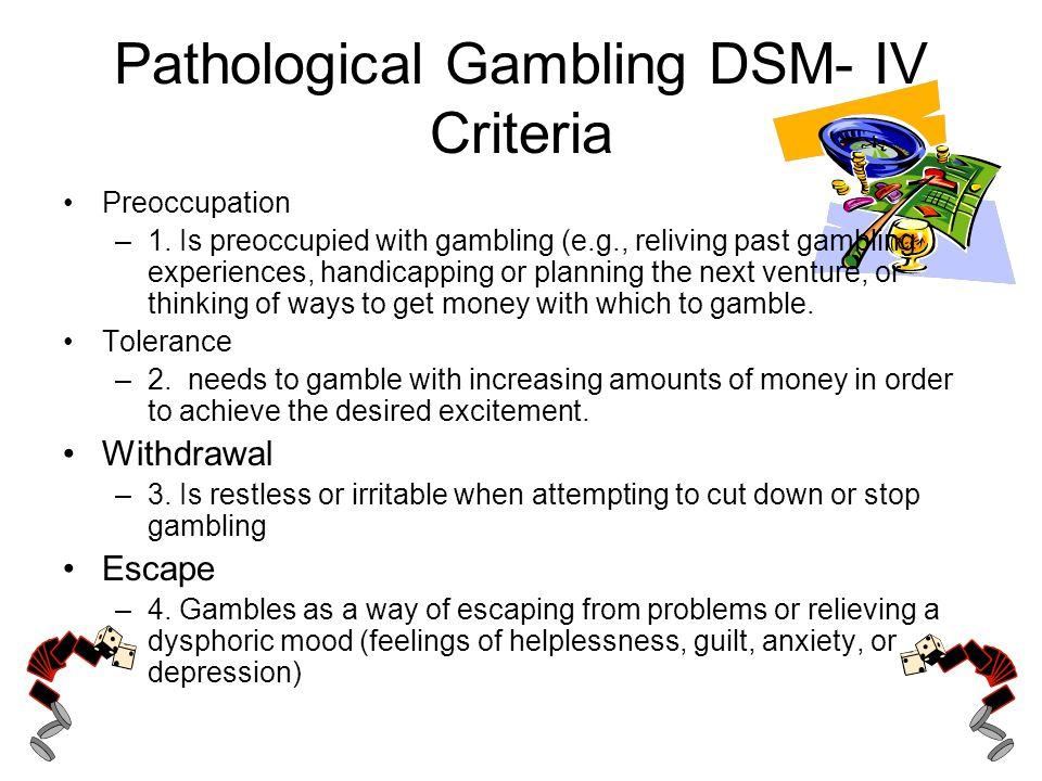 Pathological Gambling DSM- IV Criteria Preoccupation –1.