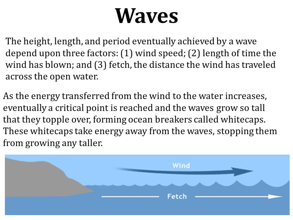 The height, length, and period eventually achieved by a wave depend upon three factors: (1) wind speed; (2) length of time the wind has blown; and (3)
