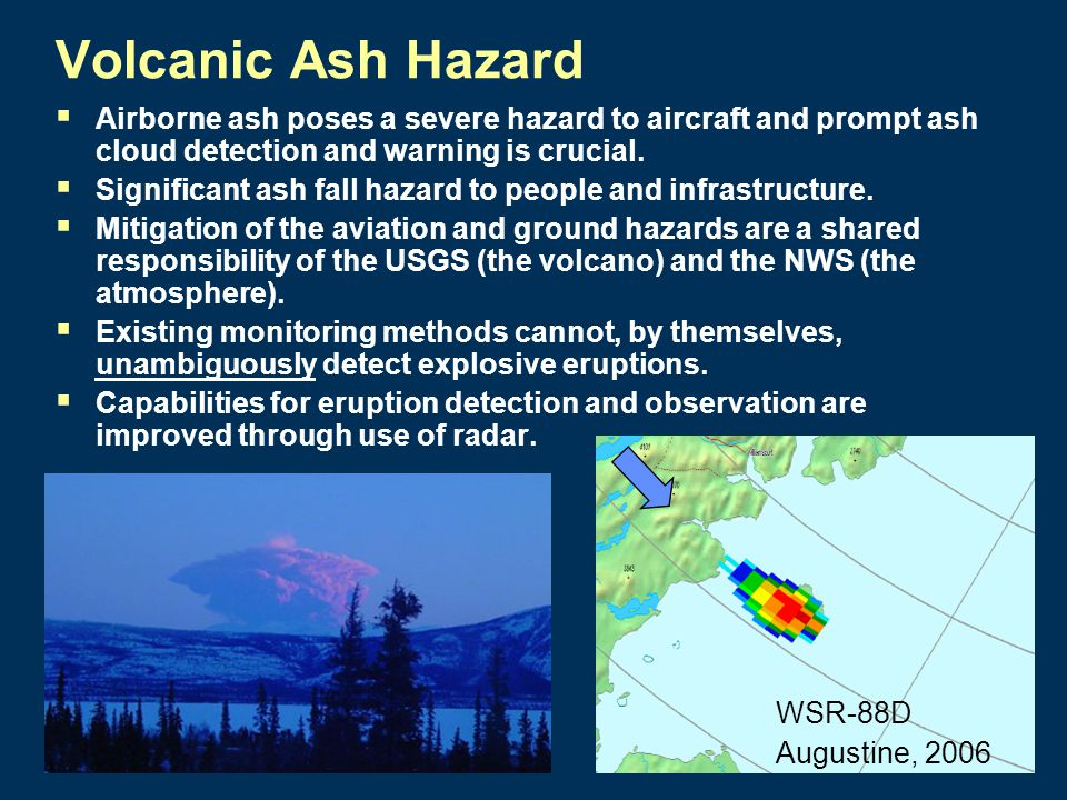 Volcanic Ash Hazard  Airborne ash poses a severe hazard to aircraft and prompt ash cloud detection and warning is crucial.
