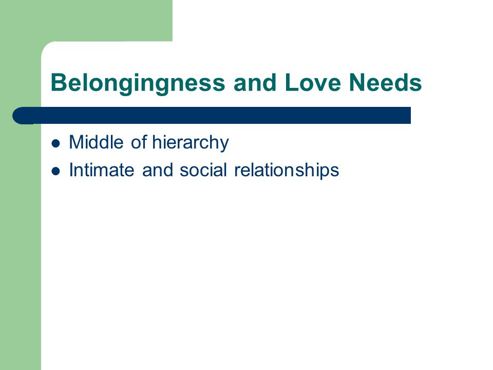 Belongingness and Love Needs Middle of hierarchy Intimate and social relationships