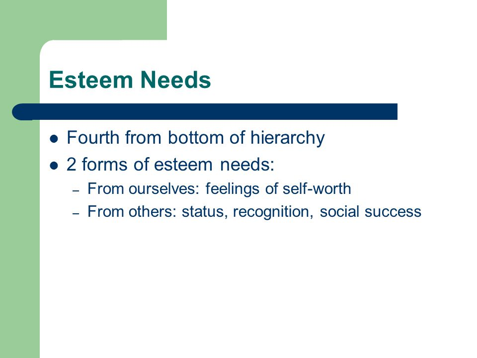 Esteem Needs Fourth from bottom of hierarchy 2 forms of esteem needs: – From ourselves: feelings of self-worth – From others: status, recognition, social success