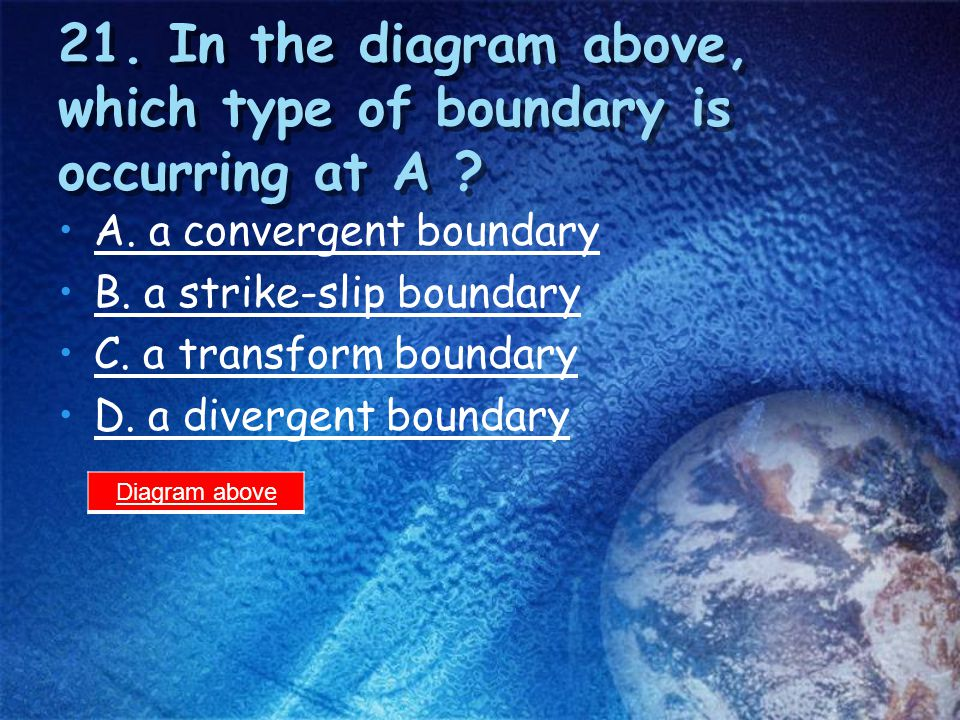 20. In the diagram above, which of the following has formed at B ? A. a fault-block mountain B. a folded mountain C. a volcanic mountain D. none of th