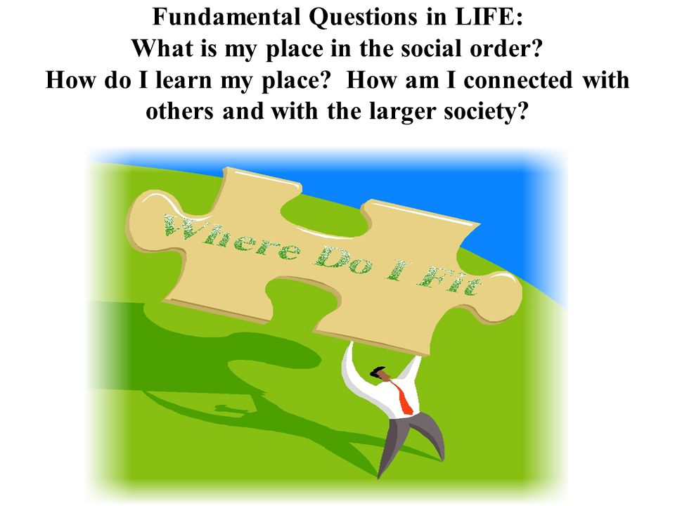 Fundamental Questions in LIFE: What is my place in the social order.
