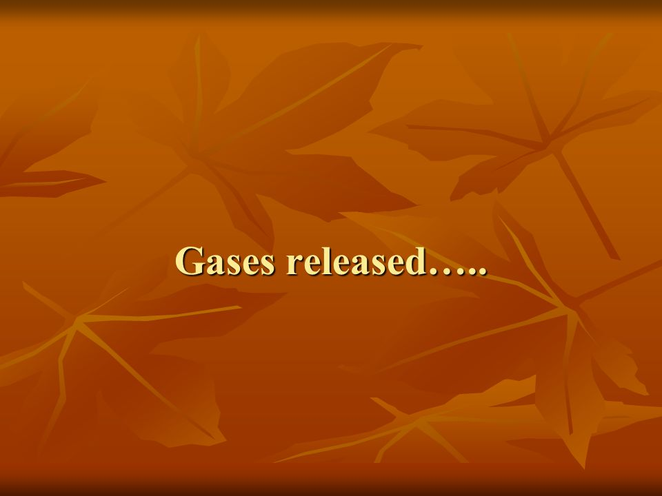 Gases released…..
