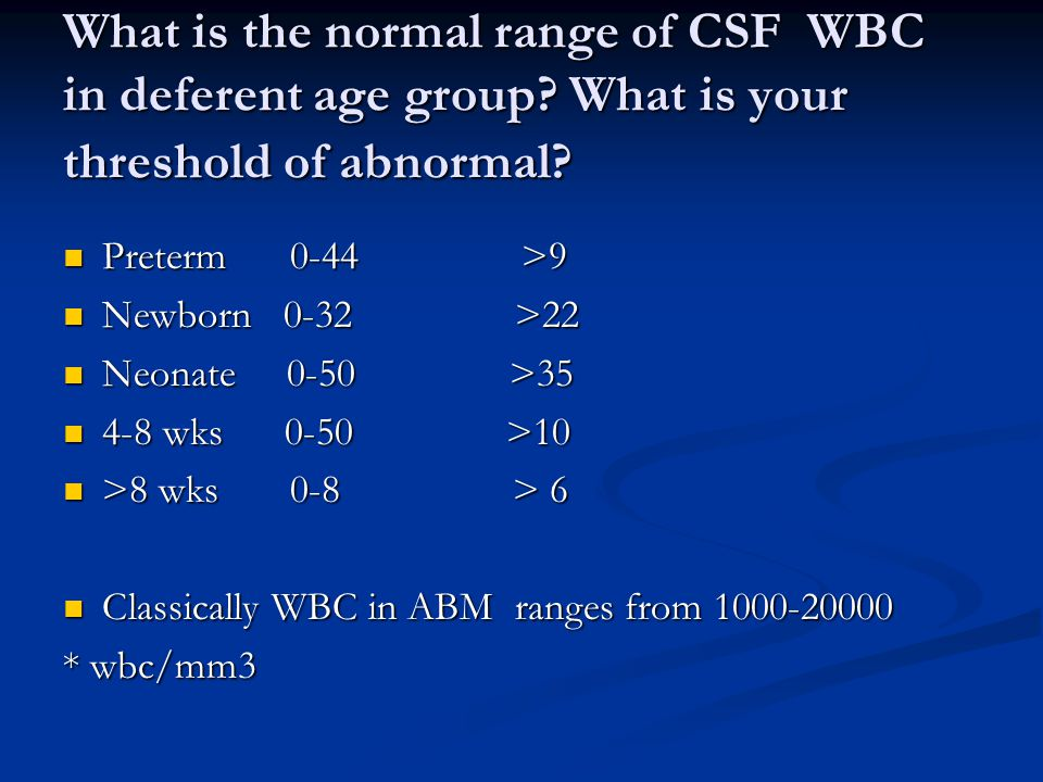 What is the normal range of CSF WBC in deferent age group.