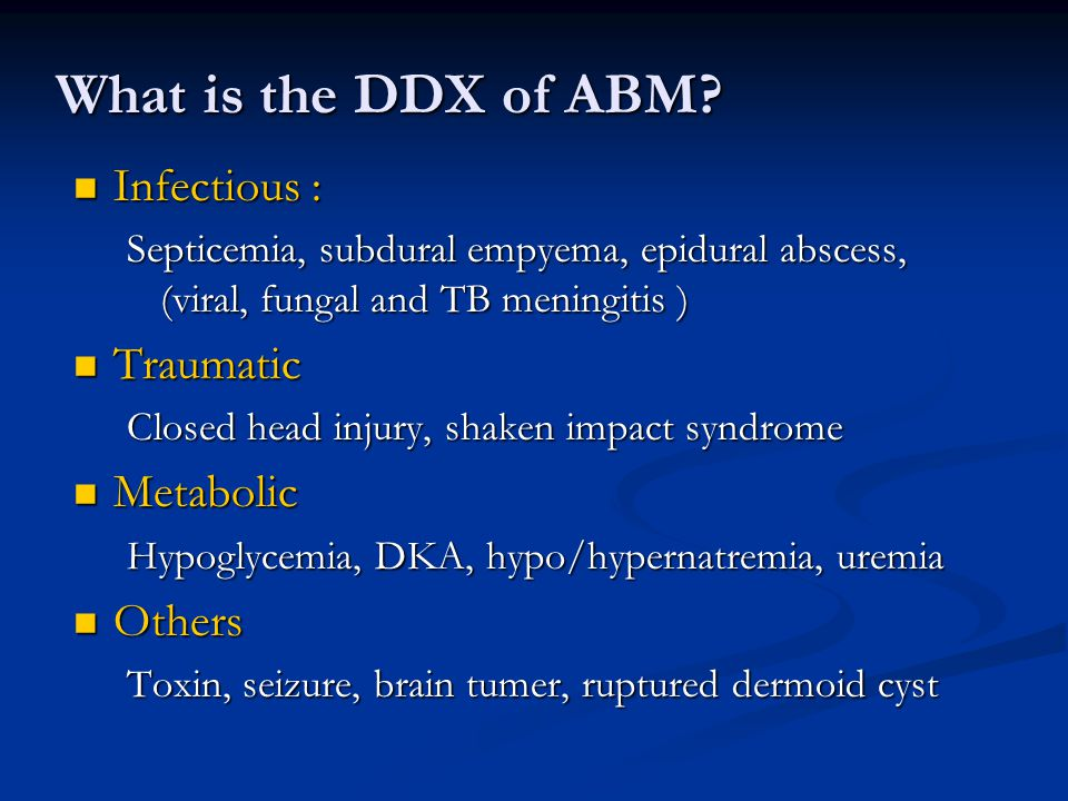 What is the DDX of ABM.