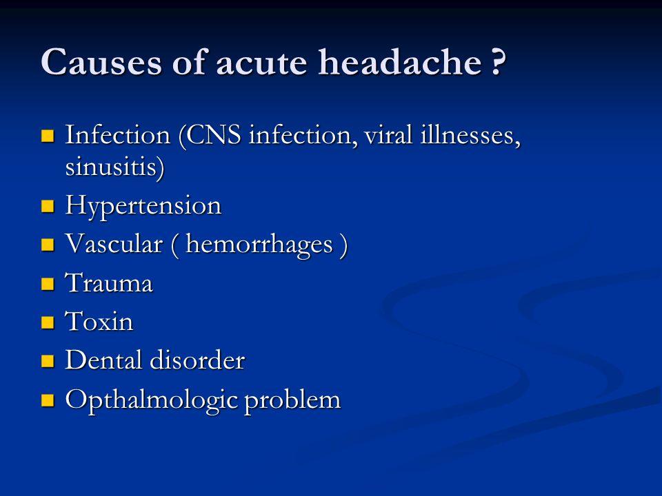 Causes of acute headache .