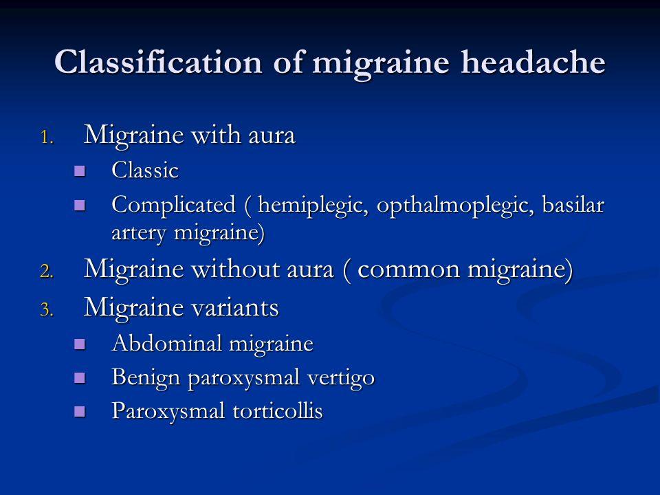 Classification of migraine headache 1.