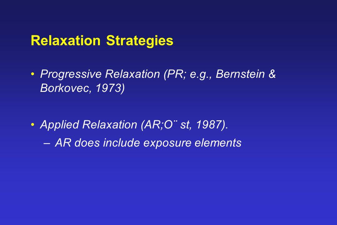 Relaxation Strategies Progressive Relaxation (PR; e.g., Bernstein & Borkovec, 1973) Applied Relaxation (AR;O¨ st, 1987).