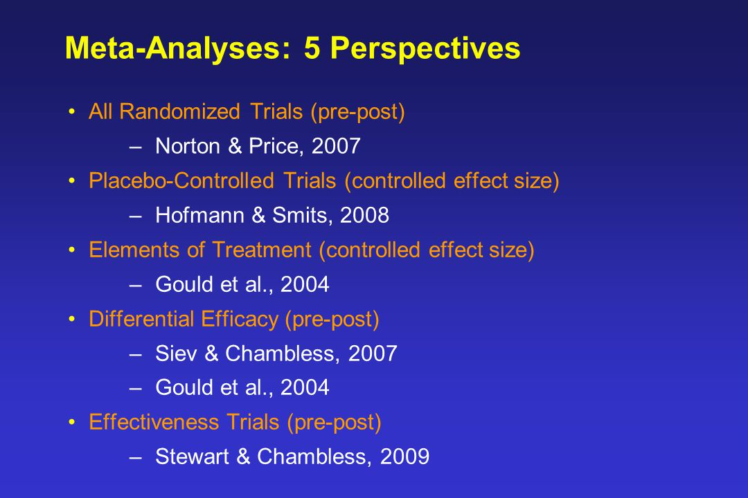 Meta-Analyses: 5 Perspectives All Randomized Trials (pre-post) –Norton & Price, 2007 Placebo-Controlled Trials (controlled effect size) –Hofmann & Smits, 2008 Elements of Treatment (controlled effect size) –Gould et al., 2004 Differential Efficacy (pre-post) –Siev & Chambless, 2007 –Gould et al., 2004 Effectiveness Trials (pre-post) –Stewart & Chambless, 2009