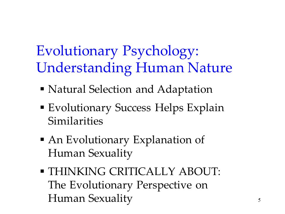 5 Evolutionary Psychology: Understanding Human Nature  Natural Selection and Adaptation  Evolutionary Success Helps Explain Similarities  An Evolutionary Explanation of Human Sexuality  THINKING CRITICALLY ABOUT: The Evolutionary Perspective on Human Sexuality