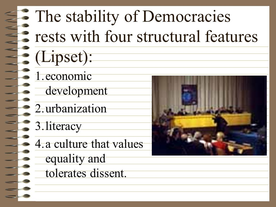 Democracy, rule by a nation's citizens, must meet three conditions: 1. The political culture legitimizes the democratic system and its institutions. 2
