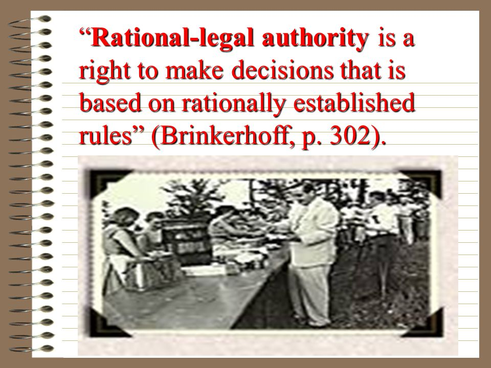 """""""Charismatic authority is a right to make decisions that is based on perceived extraordinary personal characteristics"""" (Brinkerhoff, p. 302)."""