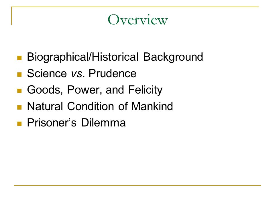 Overview Biographical/Historical Background Science vs.