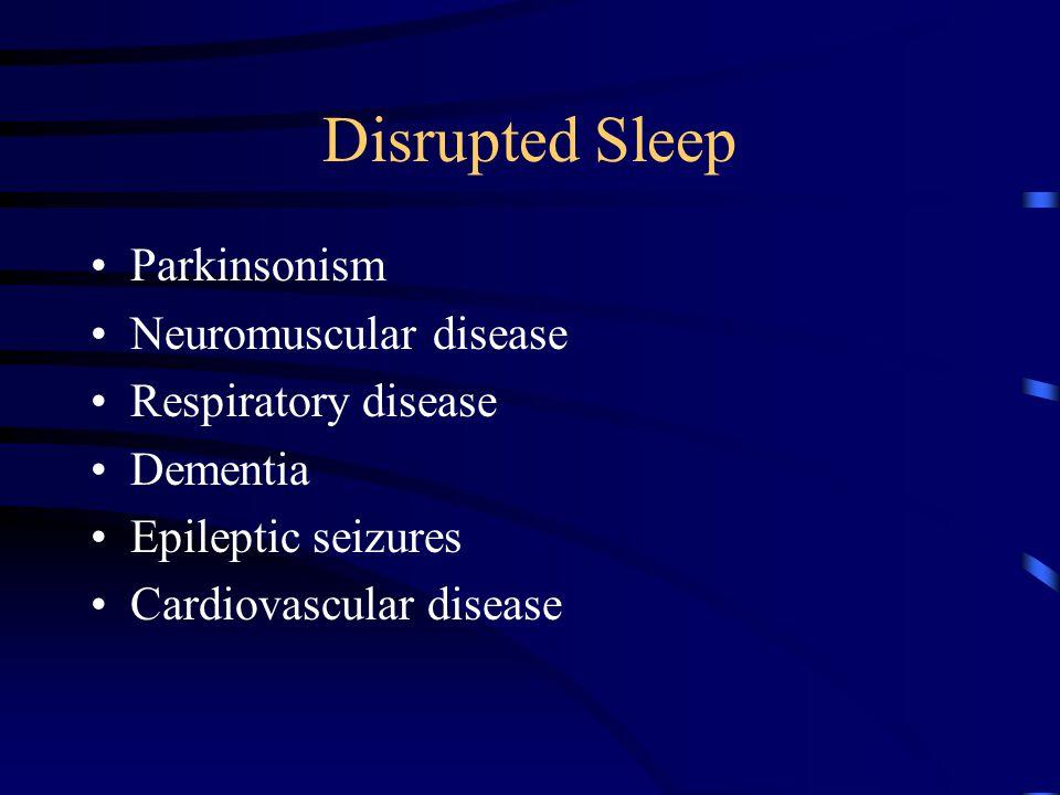 Parasomnias of Sleep Non REM –Sleep terrors and sleep walking –Bruxism CNS disease, Drugs, Cardiac disease can trigger