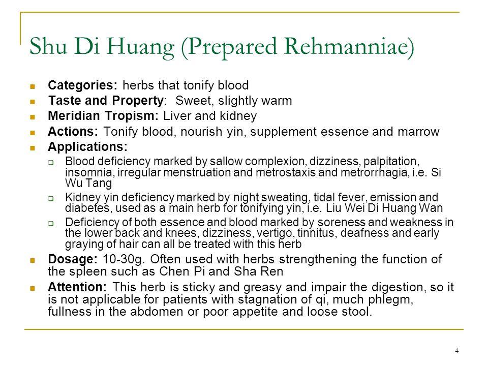 15 Formulas Si Wu Tang, Tao Hong Si Wu Tang, Jiao Ai Si Wu Tang FS: pp pp 248-249 Shao Yao Gan Cao Tang FS: pp pp 252-253 Dang Gui Shao Yao San FS: pp 251-252