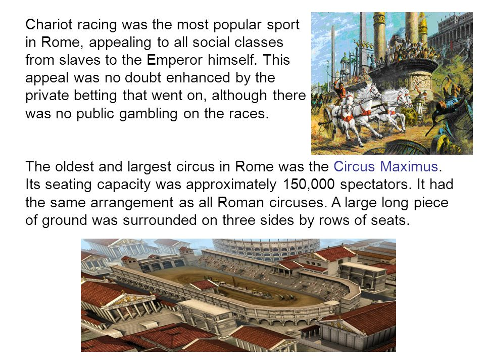 Chariot racing was the most popular sport in Rome, appealing to all social classes from slaves to the Emperor himself.