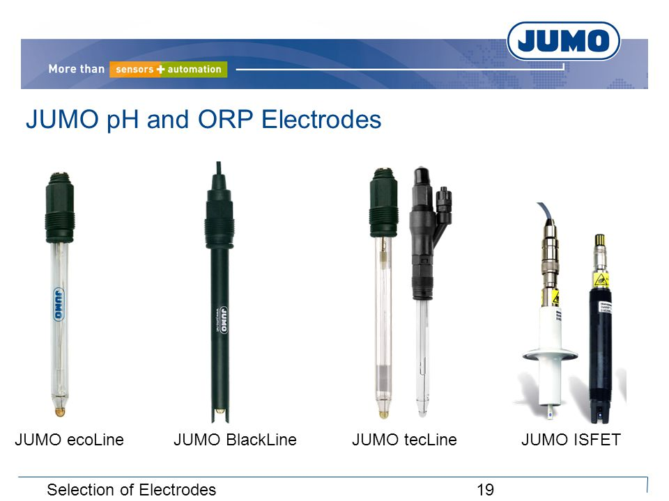 19Selection of Electrodes JUMO ecoLine JUMO BlackLine JUMO tecLine JUMO ISFET JUMO pH and ORP Electrodes