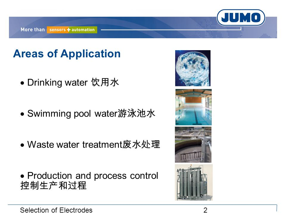 2Selection of Electrodes  Drinking water 饮用水  Swimming pool water 游泳池水  Waste water treatment 废水处理  Production and process control 控制生产和过程 Areas of Application