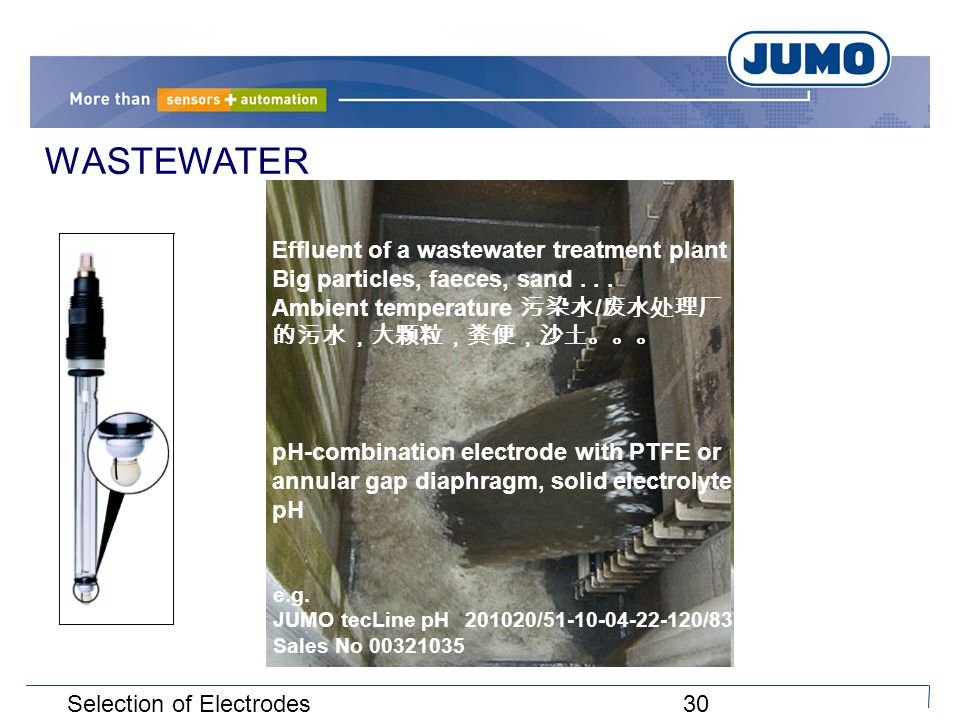 30Selection of Electrodes WASTEWATER Effluent of a wastewater treatment plant Big particles, faeces, sand...