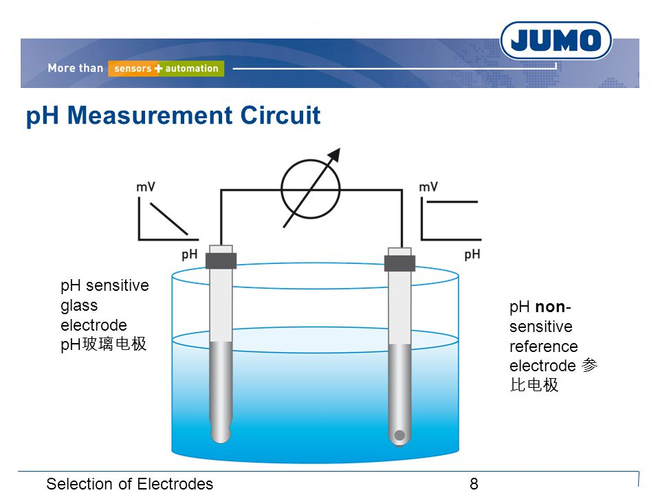 8 pH Measurement Circuit pH sensitive glass electrode pH 玻璃电极 pH non- sensitive reference electrode 参 比电极