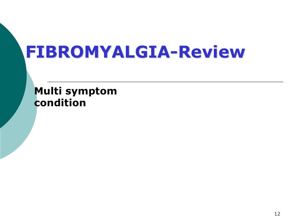 12 FIBROMYALGIA-Review Multi symptom condition