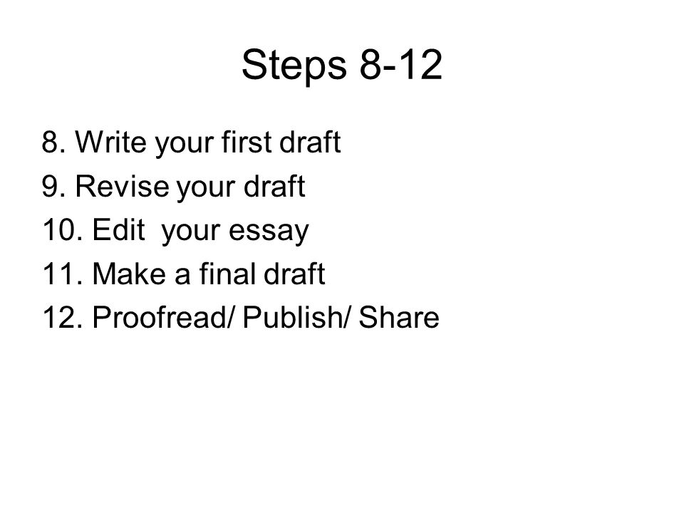 Steps 8-12 8. Write your first draft 9. Revise your draft 10. Edit your essay 11. Make a final draft 12. Proofread/ Publish/ Share