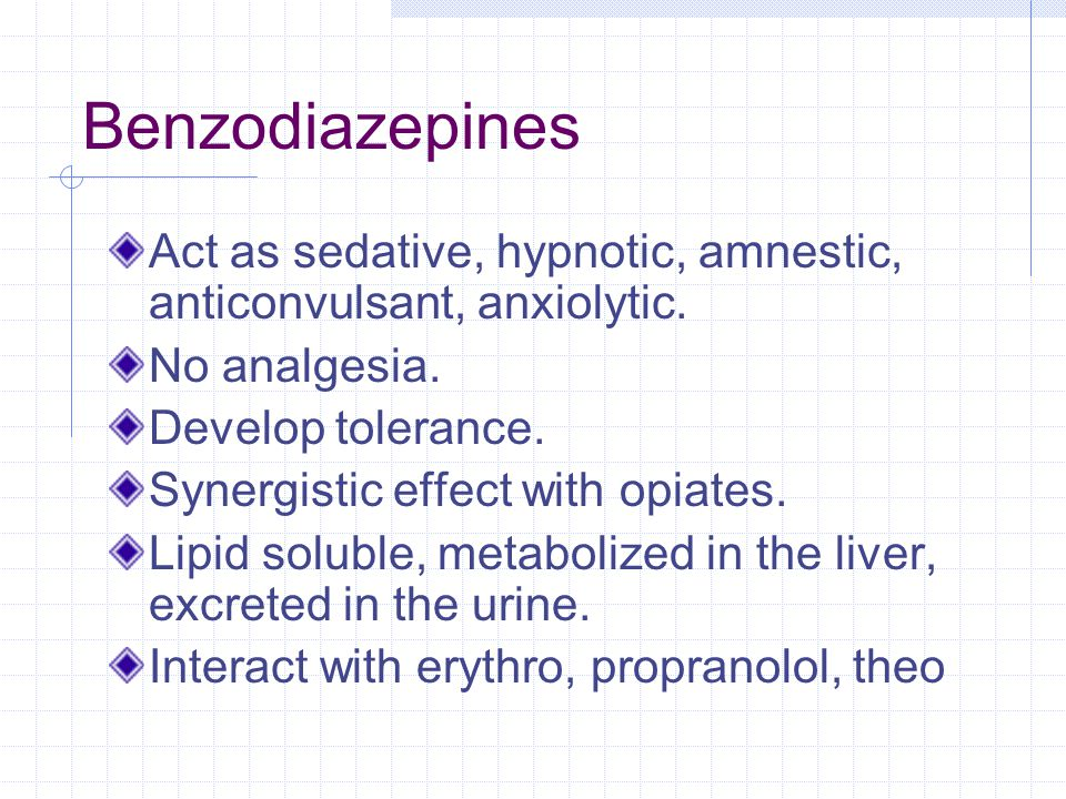 Benzodiazepines Act as sedative, hypnotic, amnestic, anticonvulsant, anxiolytic.