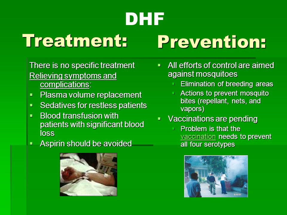 Prevention: There is no specific treatment Relieving symptoms and complications:  Plasma volume replacement  Sedatives for restless patients  Blood transfusion with patients with significant blood loss  Aspirin should be avoided  All efforts of control are aimed against mosquitoes  Elimination of breeding areas  Actions to prevent mosquito bites (repellant, nets, and vapors)  Vaccinations are pending  Problem is that the vaccination needs to prevent all four serotypes vaccination Treatment: DHF