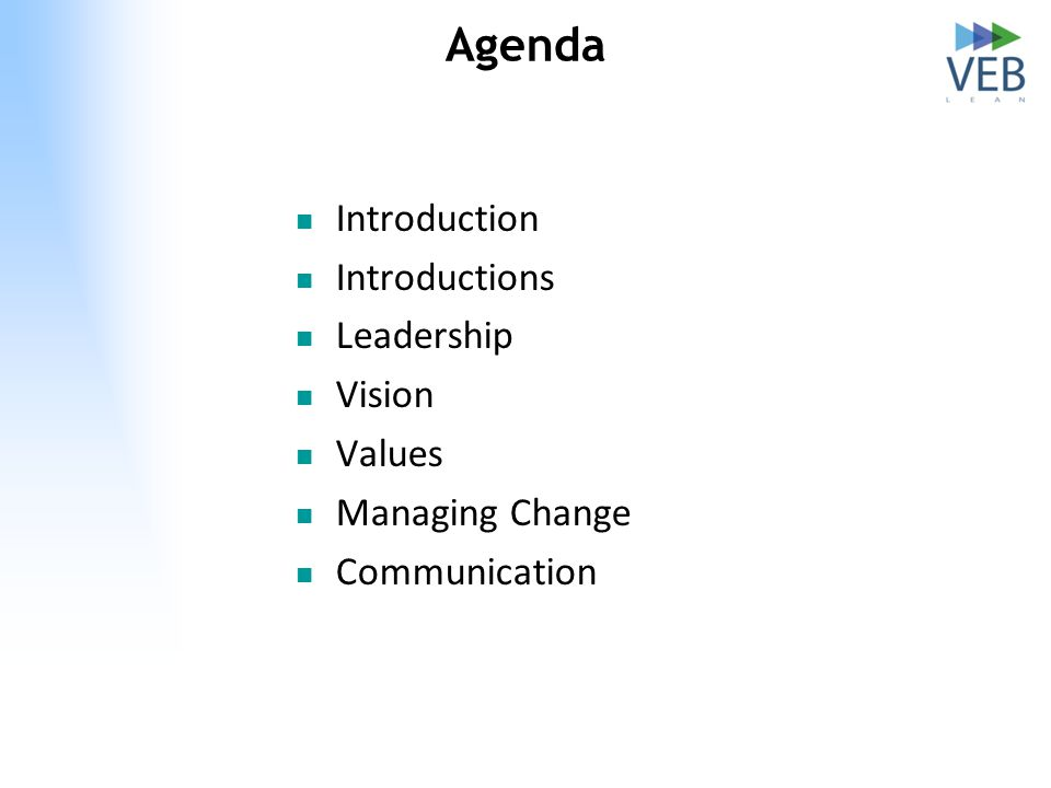 Agenda Introduction Introductions Leadership Vision Values Managing Change Communication