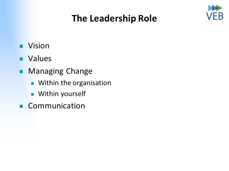 The Leadership Role Vision Values Managing Change Within the organisation Within yourself Communication