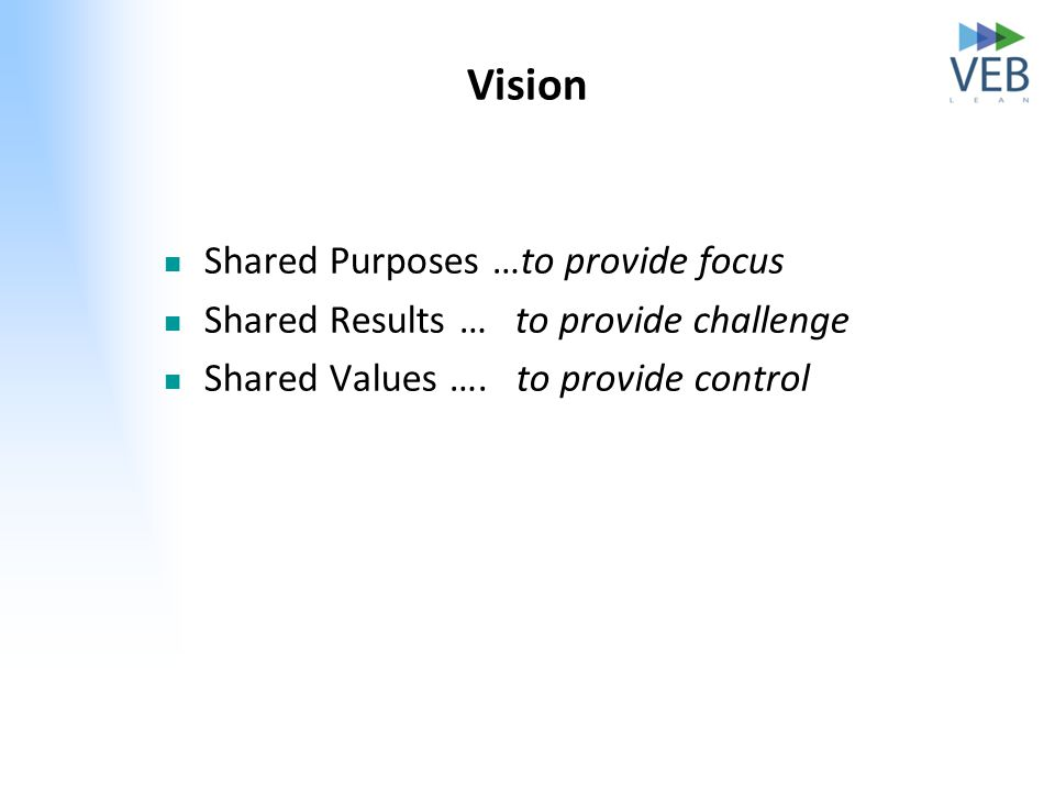 Vision Shared Purposes …to provide focus Shared Results … to provide challenge Shared Values …. to provide control