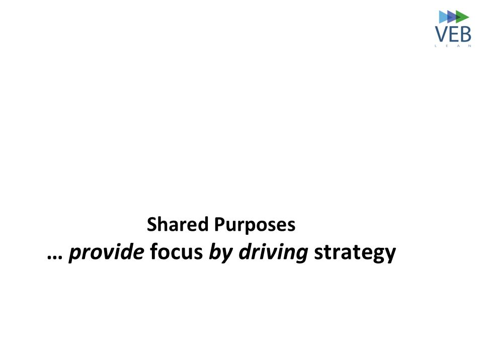 Shared Purposes … provide focus by driving strategy