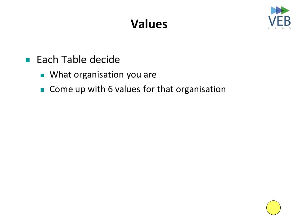 Values Each Table decide What organisation you are Come up with 6 values for that organisation